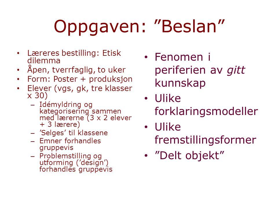 """Oppgaven: """"Beslan"""" Læreres bestilling: Etisk dilemma Åpen, tverrfaglig, to uker Form: Poster + produksjon Elever (vgs, gk, tre klasser x 30) – Idémyld"""