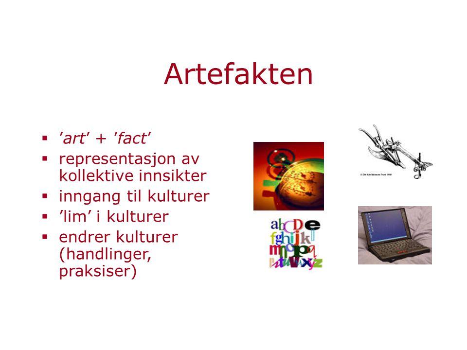 Artefakten  'art' + 'fact'  representasjon av kollektive innsikter  inngang til kulturer  'lim' i kulturer  endrer kulturer (handlinger, praksise