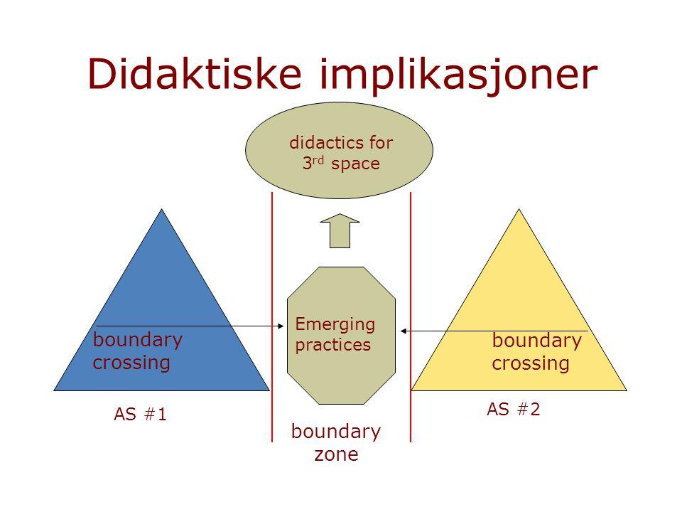 Didaktiske implikasjoner AS #1 AS #2 boundary zone Emerging practices boundary crossing didactics for 3 rd space