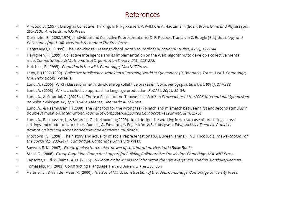 References Allwood, J. (1997). Dialog as Collective Thinking. In P. Pylkkänen, P. Pylkkö & A. Hautamälin (Eds.), Brain, Mind and Physics (pp. 205-210)