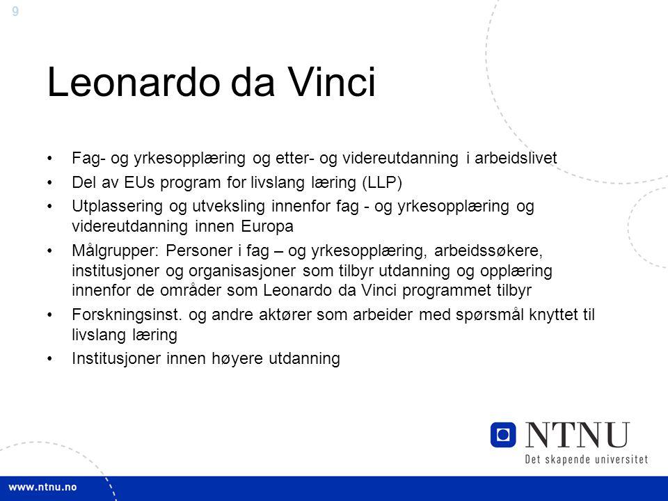 9 Leonardo da Vinci Fag- og yrkesopplæring og etter- og videreutdanning i arbeidslivet Del av EUs program for livslang læring (LLP) Utplassering og ut