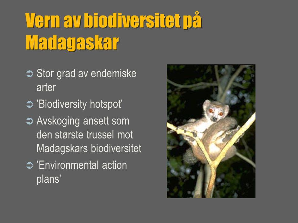 Vern av biodiversitet på Madagaskar  Stor grad av endemiske arter  'Biodiversity hotspot'  Avskoging ansett som den største trussel mot Madagskars biodiversitet  'Environmental action plans'