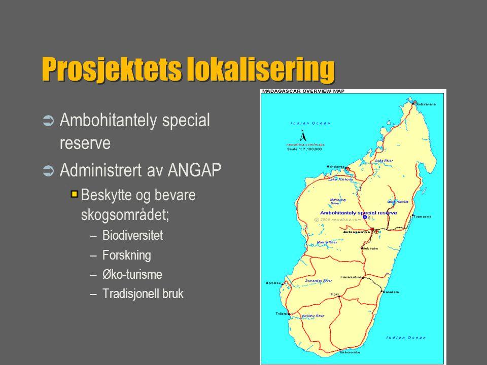 Prosjektets lokalisering  Ambohitantely special reserve  Administrert av ANGAP Beskytte og bevare skogsområdet; –Biodiversitet –Forskning –Øko-turisme –Tradisjonell bruk