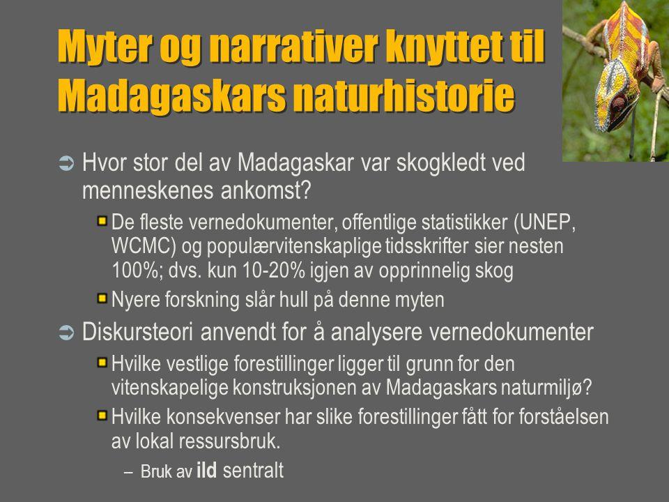 Myter og narrativer knyttet til Madagaskars naturhistorie  Hvor stor del av Madagaskar var skogkledt ved menneskenes ankomst.