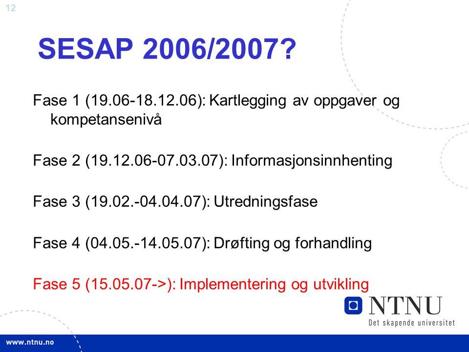 12 SESAP 2006/2007? Fase 1 (19.06-18.12.06): Kartlegging av oppgaver og kompetansenivå Fase 2 (19.12.06-07.03.07): Informasjonsinnhenting Fase 3 (19.0