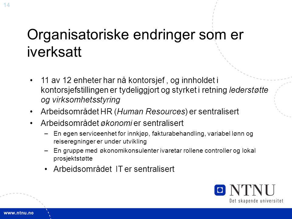 14 Organisatoriske endringer som er iverksatt 11 av 12 enheter har nå kontorsjef, og innholdet i kontorsjefstillingen er tydeliggjort og styrket i ret