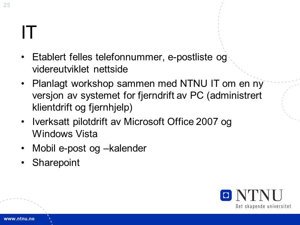 25 IT Etablert felles telefonnummer, e-postliste og videreutviklet nettside Planlagt workshop sammen med NTNU IT om en ny versjon av systemet for fjer