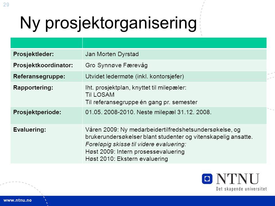 29 Ny prosjektorganisering Prosjektleder:Jan Morten Dyrstad Prosjektkoordinator:Gro Synnøve Færevåg Referansegruppe:Utvidet ledermøte (inkl. kontorsje