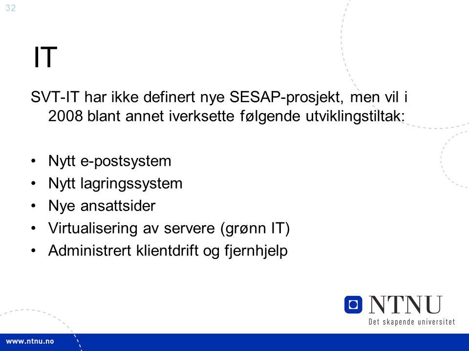 32 IT SVT-IT har ikke definert nye SESAP-prosjekt, men vil i 2008 blant annet iverksette følgende utviklingstiltak: Nytt e-postsystem Nytt lagringssys