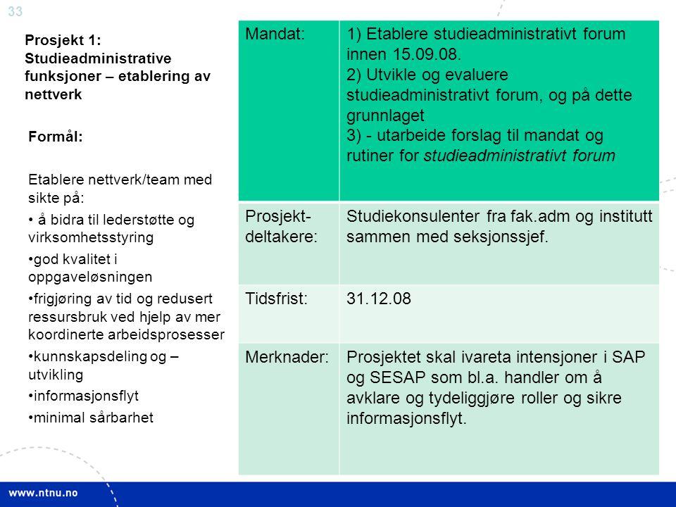 33 Prosjekt 1: Studieadministrative funksjoner – etablering av nettverk Mandat:1) Etablere studieadministrativt forum innen 15.09.08. 2) Utvikle og ev