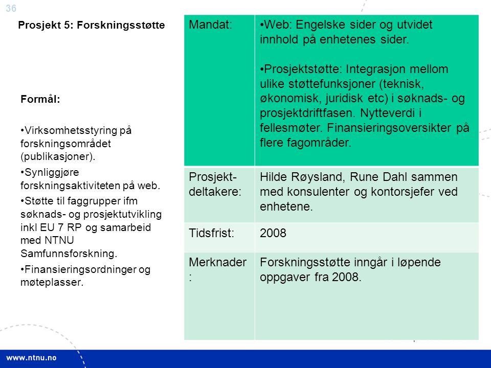 36 Prosjekt 5: Forskningsstøtte Mandat:Web: Engelske sider og utvidet innhold på enhetenes sider. Prosjektstøtte: Integrasjon mellom ulike støttefunks