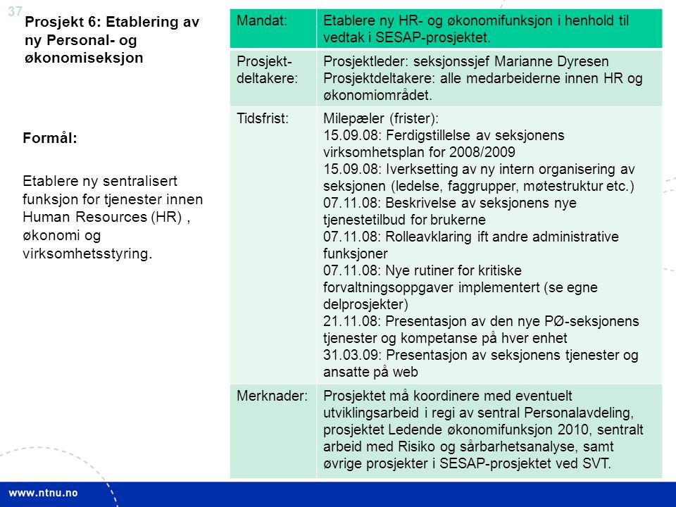 37 Prosjekt 6: Etablering av ny Personal- og økonomiseksjon Mandat:Etablere ny HR- og økonomifunksjon i henhold til vedtak i SESAP-prosjektet. Prosjek