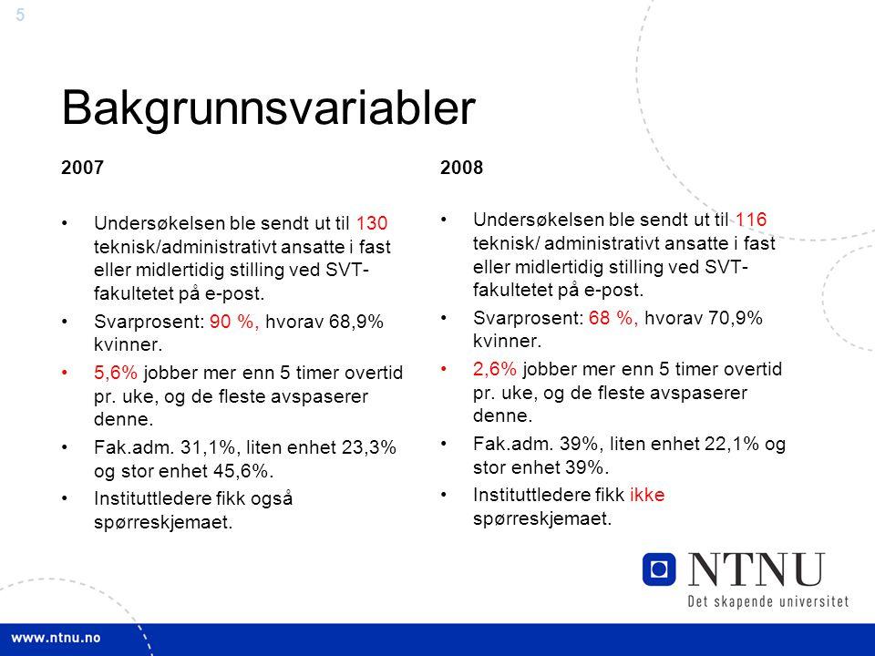 5 Bakgrunnsvariabler 2007 Undersøkelsen ble sendt ut til 130 teknisk/administrativt ansatte i fast eller midlertidig stilling ved SVT- fakultetet på e