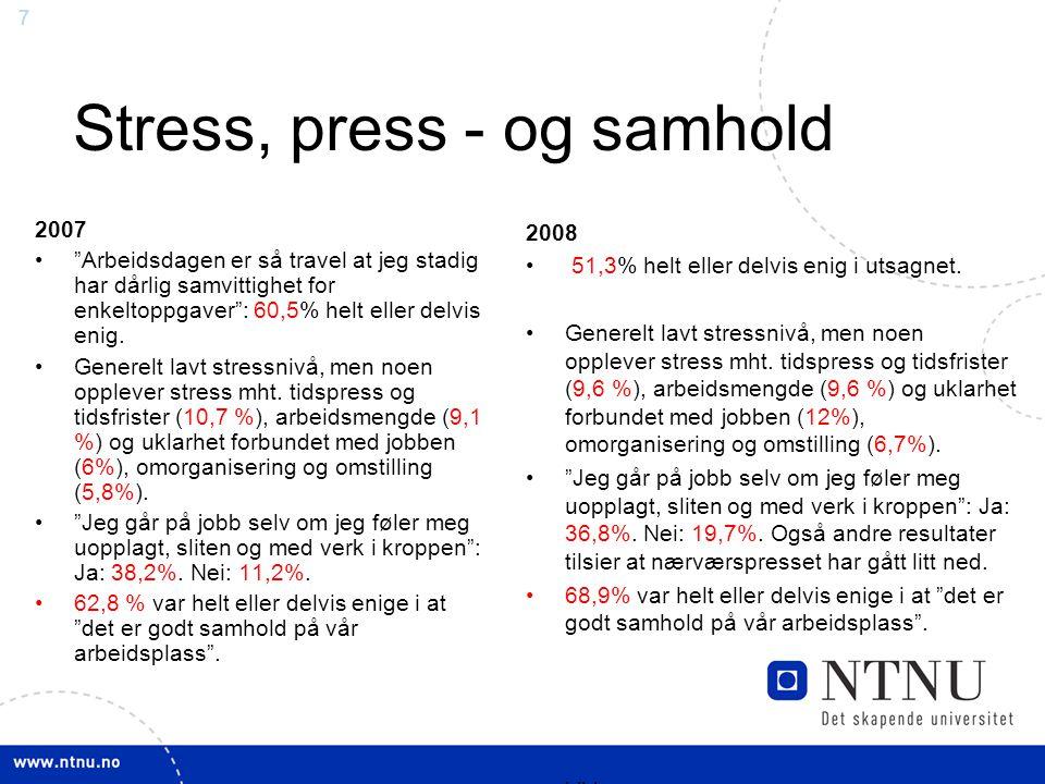 """7 Stress, press - og samhold 2007 """"Arbeidsdagen er så travel at jeg stadig har dårlig samvittighet for enkeltoppgaver"""": 60,5% helt eller delvis enig."""