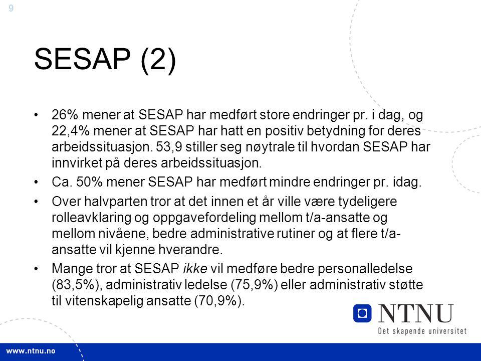 9 SESAP (2) 26% mener at SESAP har medført store endringer pr. i dag, og 22,4% mener at SESAP har hatt en positiv betydning for deres arbeidssituasjon