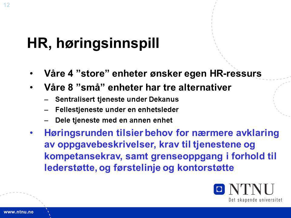"""12 HR, høringsinnspill Våre 4 """"store"""" enheter ønsker egen HR-ressurs Våre 8 """"små"""" enheter har tre alternativer –Sentralisert tjeneste under Dekanus –F"""