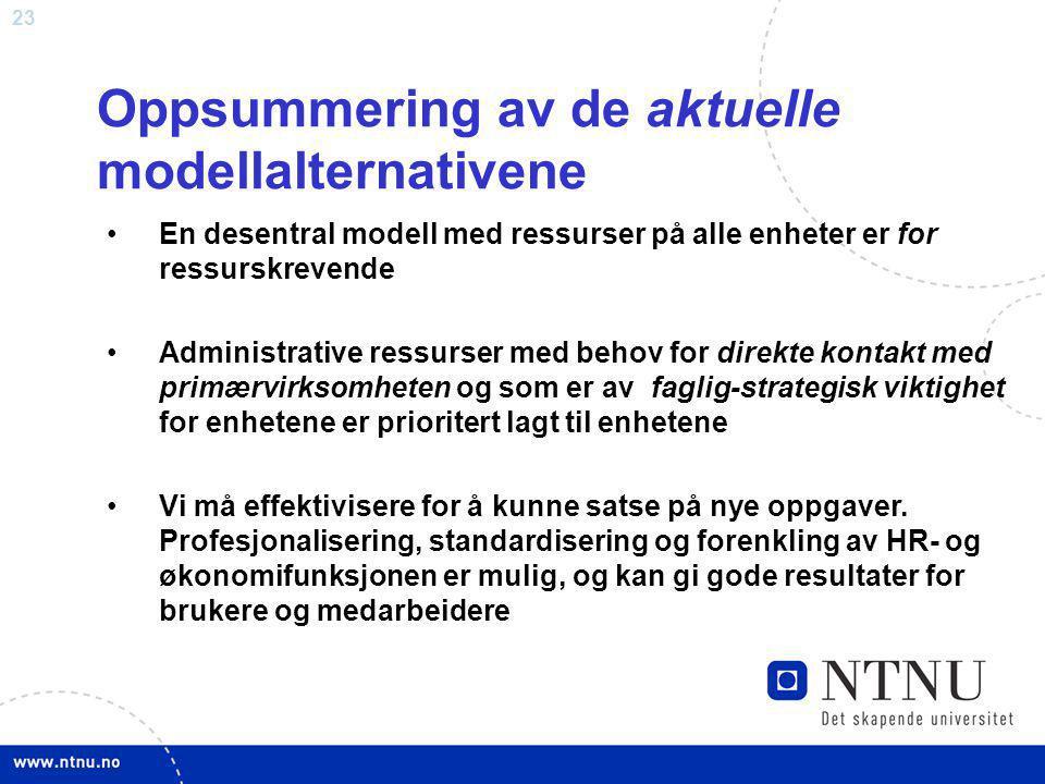 23 Oppsummering av de aktuelle modellalternativene En desentral modell med ressurser på alle enheter er for ressurskrevende Administrative ressurser m