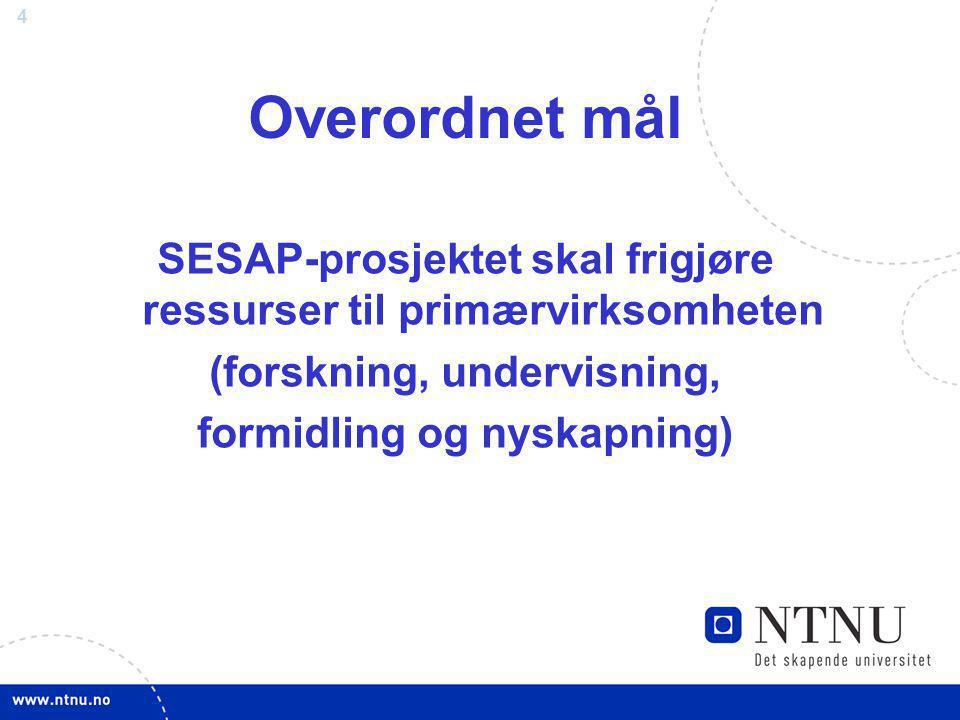 4 Overordnet mål SESAP-prosjektet skal frigjøre ressurser til primærvirksomheten (forskning, undervisning, formidling og nyskapning)