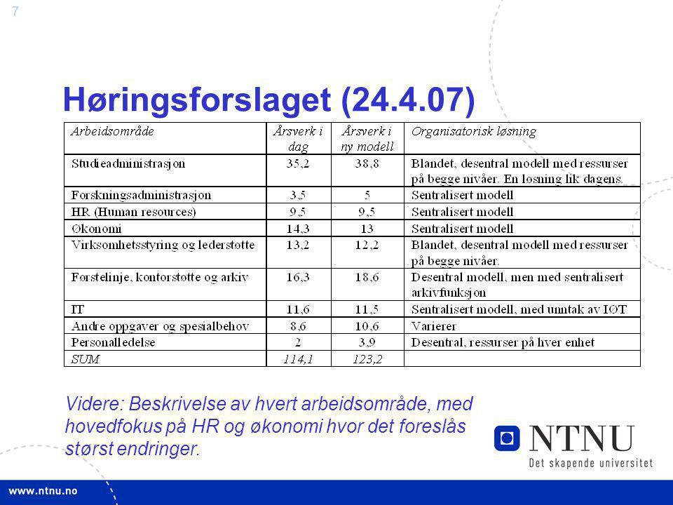 7 Høringsforslaget (24.4.07) Videre: Beskrivelse av hvert arbeidsområde, med hovedfokus på HR og økonomi hvor det foreslås størst endringer.