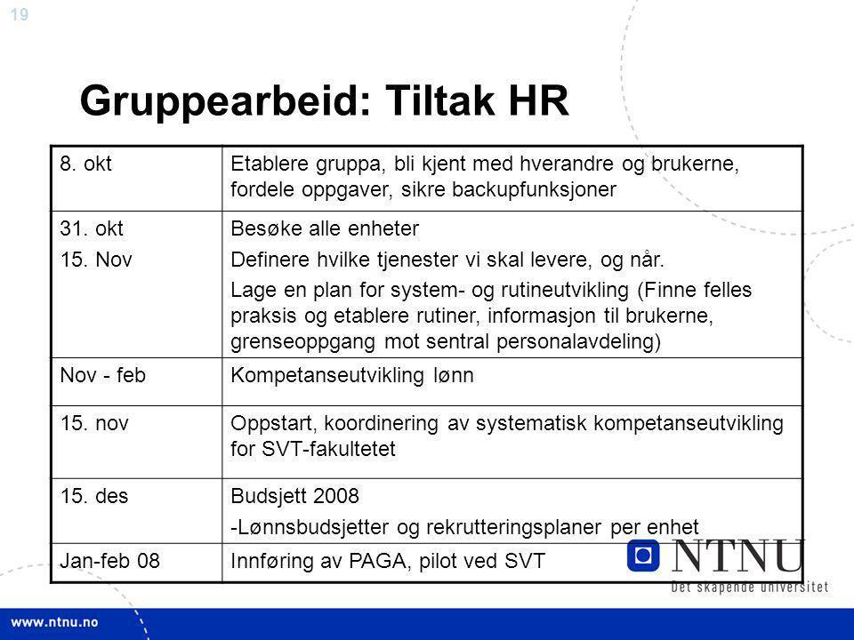 19 Gruppearbeid: Tiltak HR 8. oktEtablere gruppa, bli kjent med hverandre og brukerne, fordele oppgaver, sikre backupfunksjoner 31. okt 15. Nov Besøke