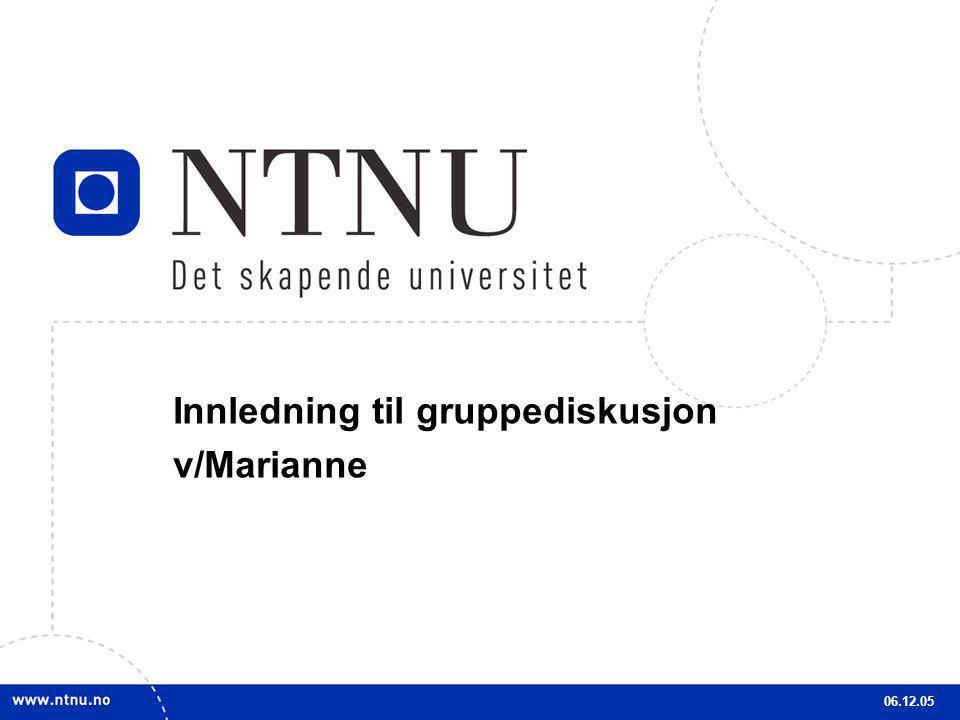 4 Innledning til gruppediskusjon v/Marianne 06.12.05