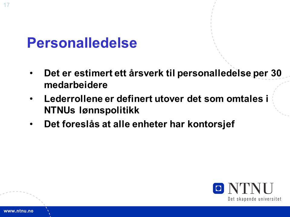 17 Personalledelse Det er estimert ett årsverk til personalledelse per 30 medarbeidere Lederrollene er definert utover det som omtales i NTNUs lønnspo
