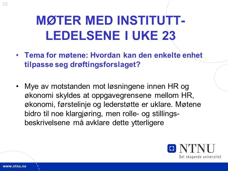 22 MØTER MED INSTITUTT- LEDELSENE I UKE 23 Tema for møtene: Hvordan kan den enkelte enhet tilpasse seg drøftingsforslaget? Mye av motstanden mot løsni