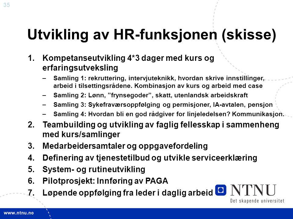 35 Utvikling av HR-funksjonen (skisse) 1.Kompetanseutvikling 4*3 dager med kurs og erfaringsutveksling –Samling 1: rekruttering, intervjuteknikk, hvor