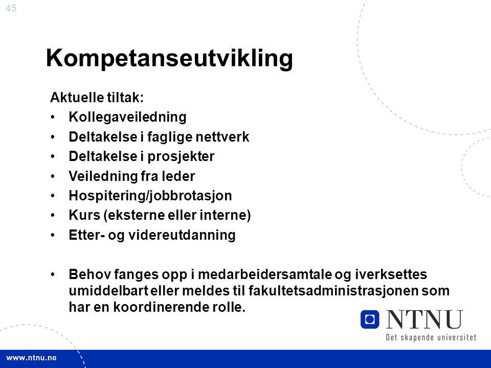45 Kompetanseutvikling Aktuelle tiltak: Kollegaveiledning Deltakelse i faglige nettverk Deltakelse i prosjekter Veiledning fra leder Hospitering/jobbr