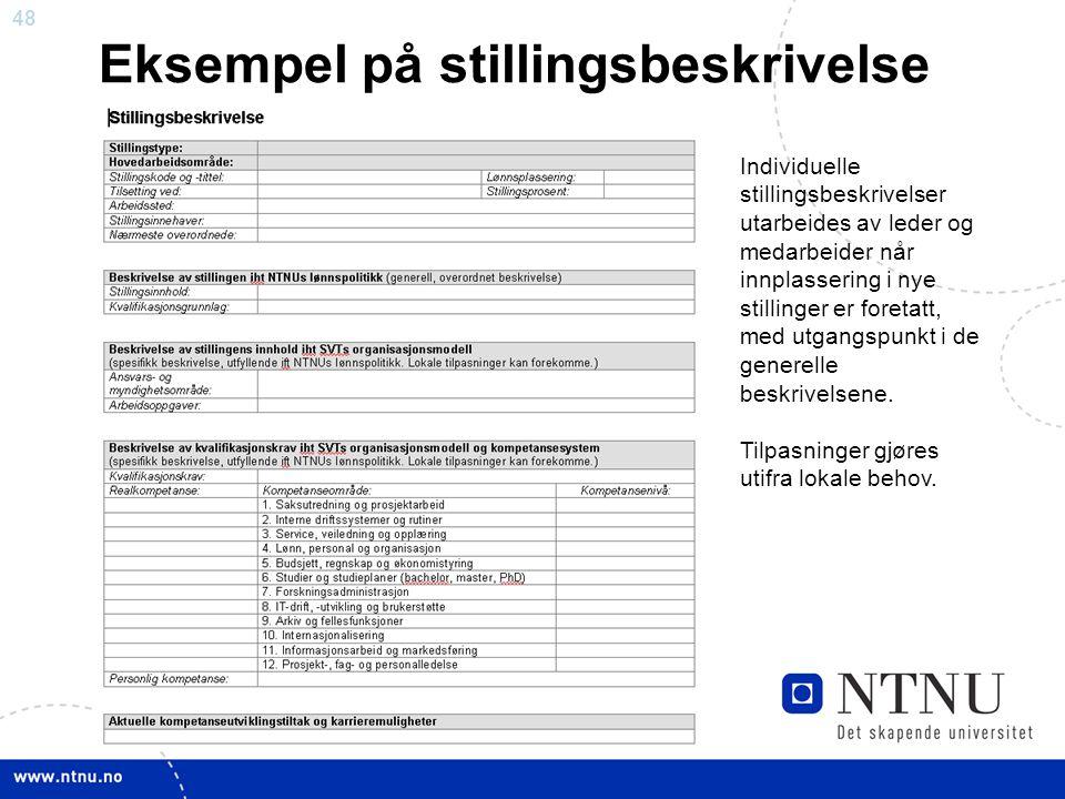 48 Eksempel på stillingsbeskrivelse Individuelle stillingsbeskrivelser utarbeides av leder og medarbeider når innplassering i nye stillinger er foreta