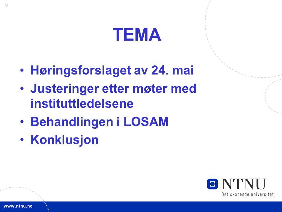 5 TEMA Høringsforslaget av 24. mai Justeringer etter møter med instituttledelsene Behandlingen i LOSAM Konklusjon