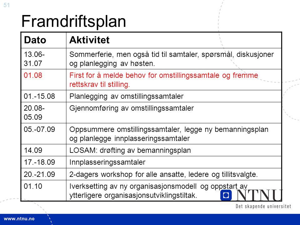 51 Framdriftsplan DatoAktivitet 13.06- 31.07 Sommerferie, men også tid til samtaler, spørsmål, diskusjoner og planlegging av høsten. 01.08First for å