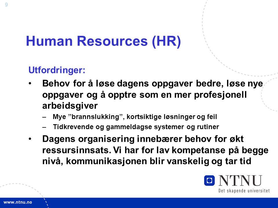 """9 Human Resources (HR) Utfordringer: Behov for å løse dagens oppgaver bedre, løse nye oppgaver og å opptre som en mer profesjonell arbeidsgiver –Mye """""""