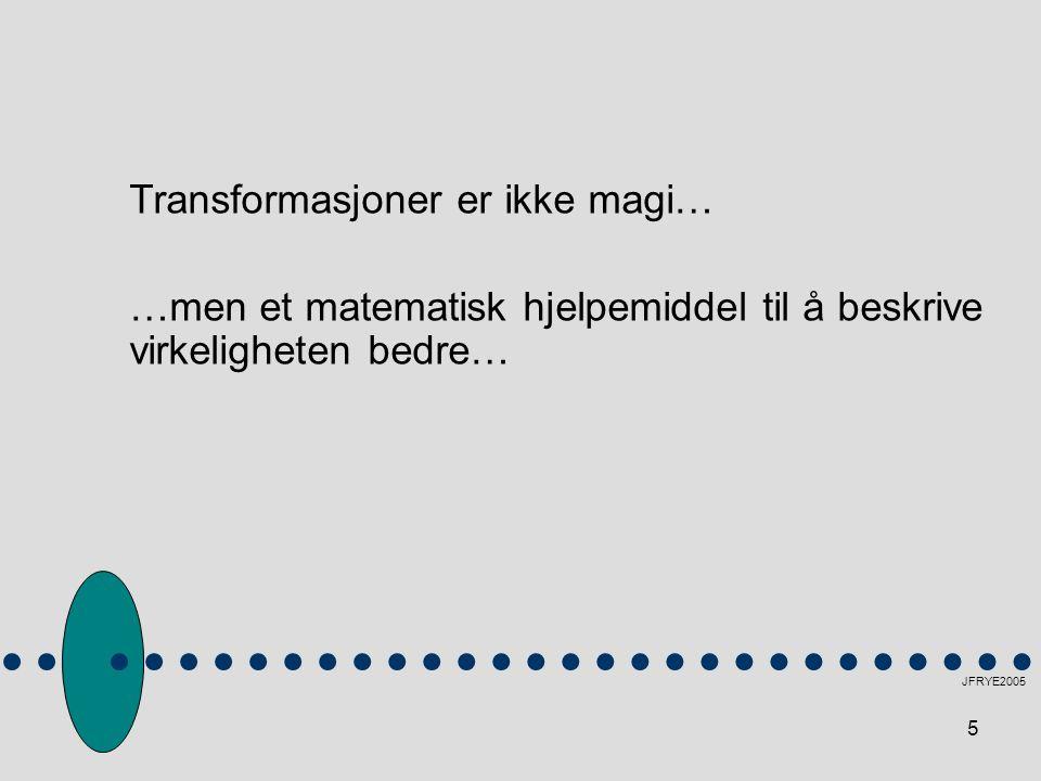 5 Transformasjoner er ikke magi… …men et matematisk hjelpemiddel til å beskrive virkeligheten bedre…