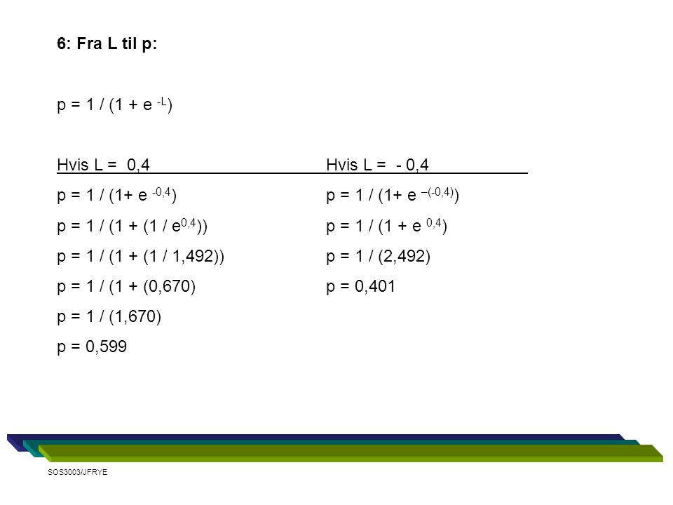 6: Fra L til p: p = 1 / (1 + e -L ) Hvis L = 0,4Hvis L = - 0,4 p = 1 / (1+ e -0,4 ) p = 1 / (1+ e –(-0,4) ) p = 1 / (1 + (1 / e 0,4 ))p = 1 / (1 + e 0,4 ) p = 1 / (1 + (1 / 1,492))p = 1 / (2,492) p = 1 / (1 + (0,670)p = 0,401 p = 1 / (1,670) p = 0,599 SOS3003/JFRYE