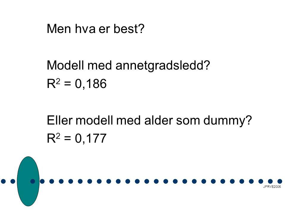 Men hva er best.Modell med annetgradsledd. R 2 = 0,186 Eller modell med alder som dummy.