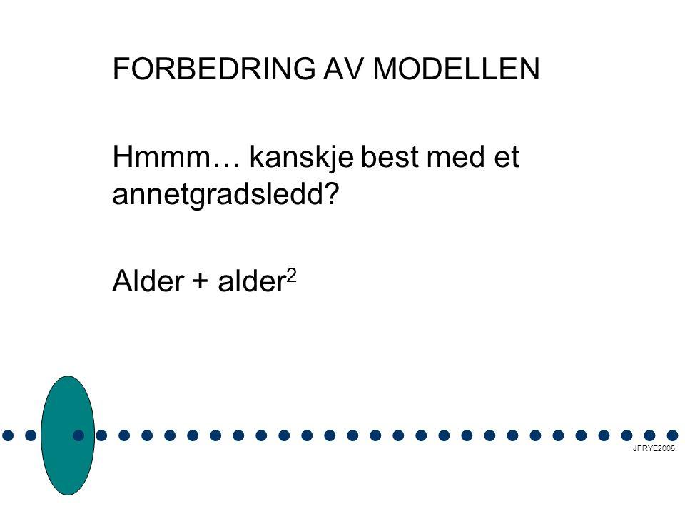 FORBEDRING AV MODELLEN Hmmm… kanskje best med et annetgradsledd Alder + alder 2 JFRYE2005