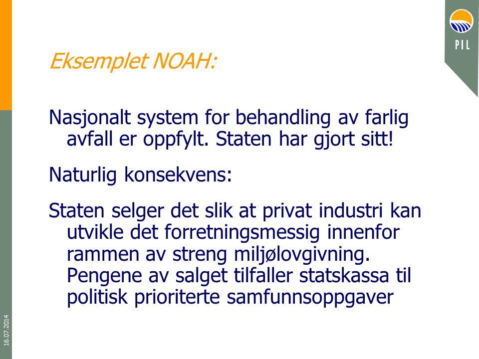 16.07.2014 Eksemplet NOAH: Nasjonalt system for behandling av farlig avfall er oppfylt. Staten har gjort sitt! Naturlig konsekvens: Staten selger det