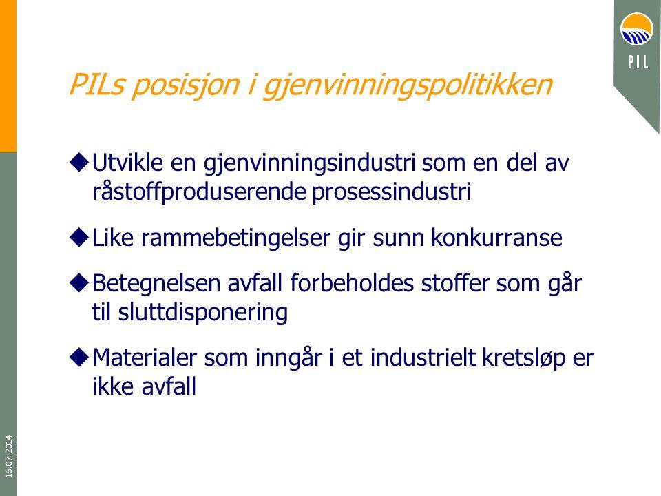 16.07.2014 PILs posisjon i gjenvinningspolitikken uUtvikle en gjenvinningsindustri som en del av råstoffproduserende prosessindustri uLike rammebeting
