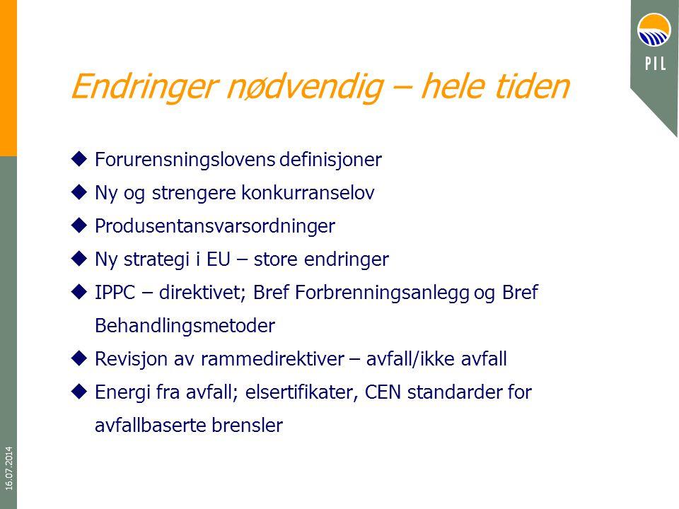 16.07.2014 Endringer nødvendig – hele tiden uForurensningslovens definisjoner uNy og strengere konkurranselov uProdusentansvarsordninger uNy strategi