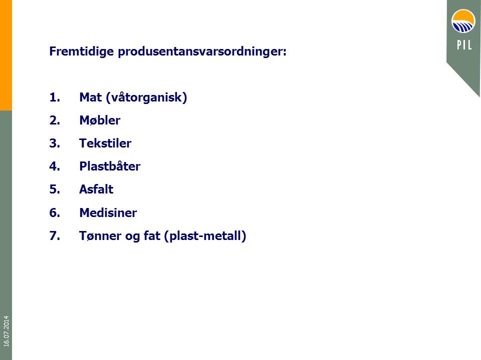 16.07.2014 Fremtidige produsentansvarsordninger: 1.Mat (våtorganisk) 2.Møbler 3.Tekstiler 4.Plastbåter 5.Asfalt 6.Medisiner 7.Tønner og fat (plast-met