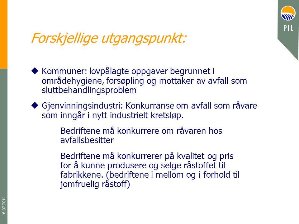 16.07.2014 Forskjellige utgangspunkt: uKommuner: lovpålagte oppgaver begrunnet i områdehygiene, forsøpling og mottaker av avfall som sluttbehandlingsp