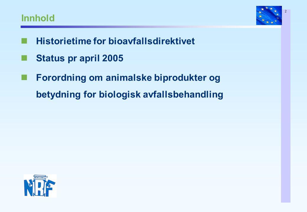 2 Innhold Historietime for bioavfallsdirektivet Status pr april 2005 Forordning om animalske biprodukter og betydning for biologisk avfallsbehandling