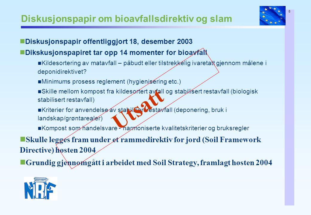 6 Diskusjonspapir om bioavfallsdirektiv og slam Diskusjonspapir offentliggjort 18, desember 2003 Dikskusjonspapiret tar opp 14 momenter for bioavfall Kildesortering av matavfall – påbudt eller tilstrekkelig ivaretatt gjennom målene i deponidirektivet.