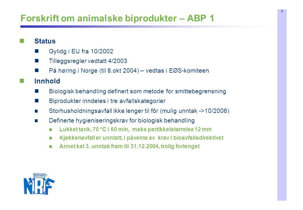 5 Forskrift om animalske biprodukter – ABP 1 Status Gylidg i EU fra 10/2002 Tilleggsregler vedtatt 4/2003 På høring i Norge (til 8.okt 2004) – vedtas i EØS-komiteen Innhold Biologisk behandling definert som metode for smittebegrensning Biprodukter inndeles i tre avfallskategorier Storhusholdningsavfall ikke lenger til fôr (mulig unntak ->10/2006) Definerte hygieniseringskrav for biologisk behandling Lukket tank, 70 °C i 60 min, maks partikkelstørrelse 12 mm Kjøkkenavfall er unntatt, i påvente av krav i bioavfallsdirektivet Annet kat 3.