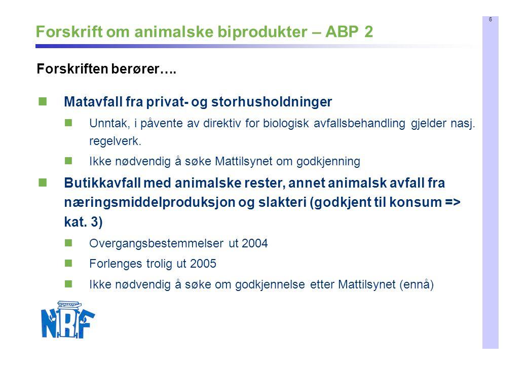7 Forskrift om animalske biprodukter – ABP 3 Implementering Norge – trolig tidlig 2005 Norsk oversettelse vil komme Mattilsynet jobber med en veiledning for komposterings- og biogassanlegg Overgangsordninger Matavfall fra kjøkken – Til bioavfallsdirektivet kommer Annet kat.