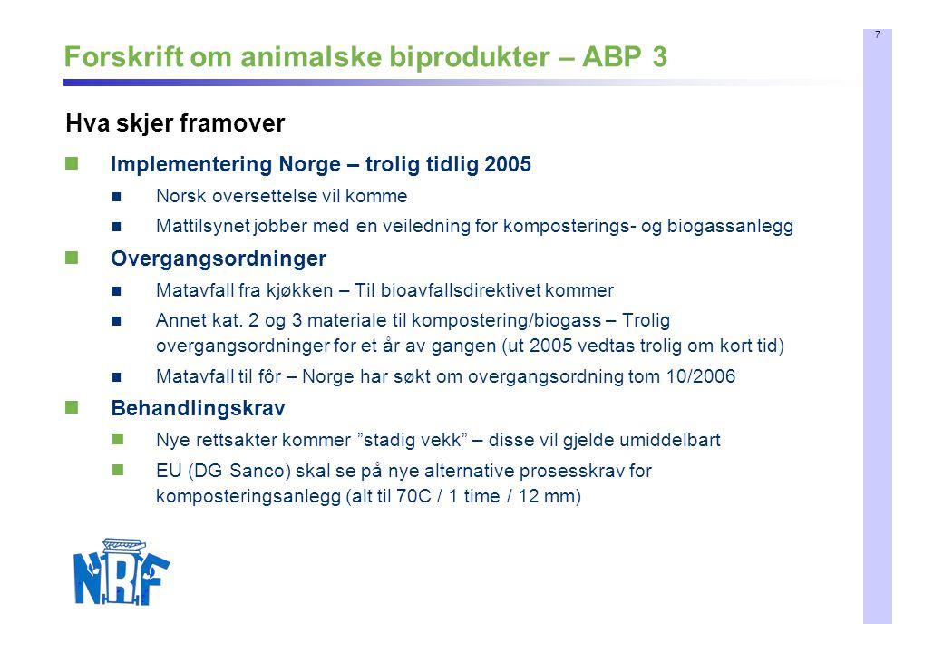 8 Kommer fra EU Direktiv om biologisk avfallsbehandling Utsatt Diskusjonspapir offentliggjort 18.12.2003, planlagt ferdig direktiv 2004 Skal nå legges frem sammen med andre direktiver i forb.