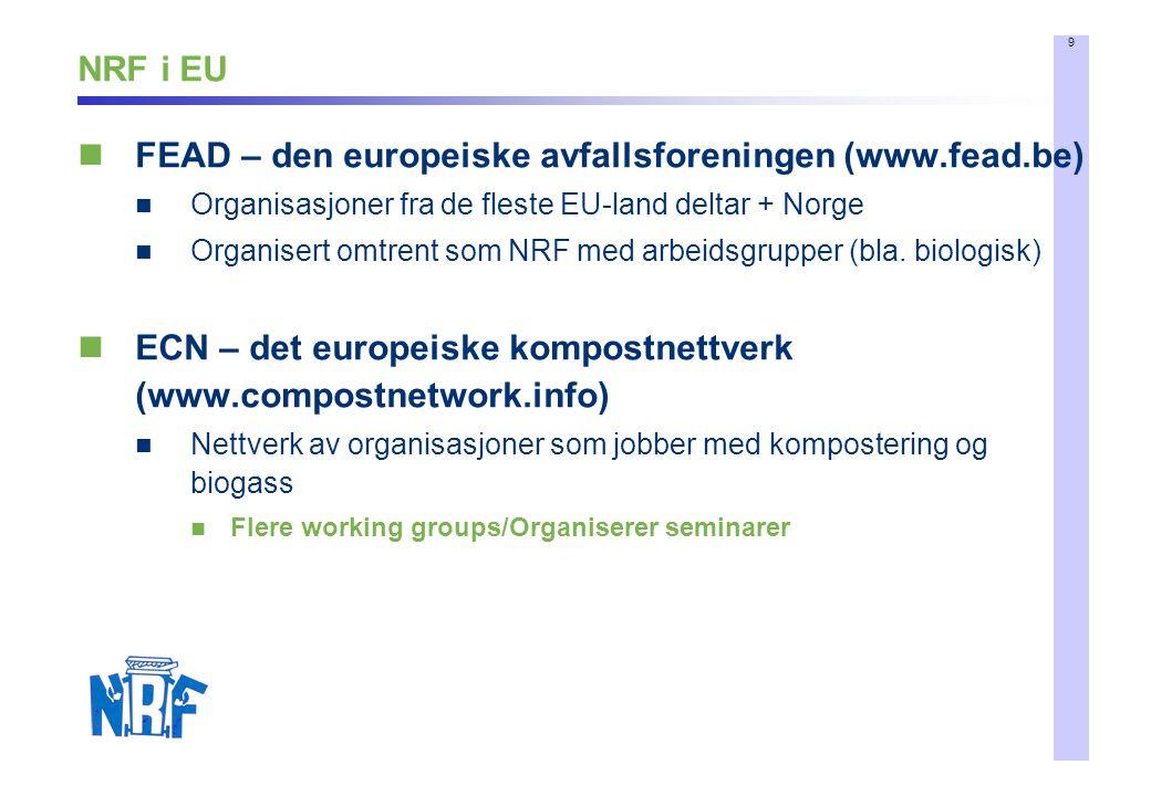 9 NRF i EU FEAD – den europeiske avfallsforeningen (www.fead.be) Organisasjoner fra de fleste EU-land deltar + Norge Organisert omtrent som NRF med arbeidsgrupper (bla.