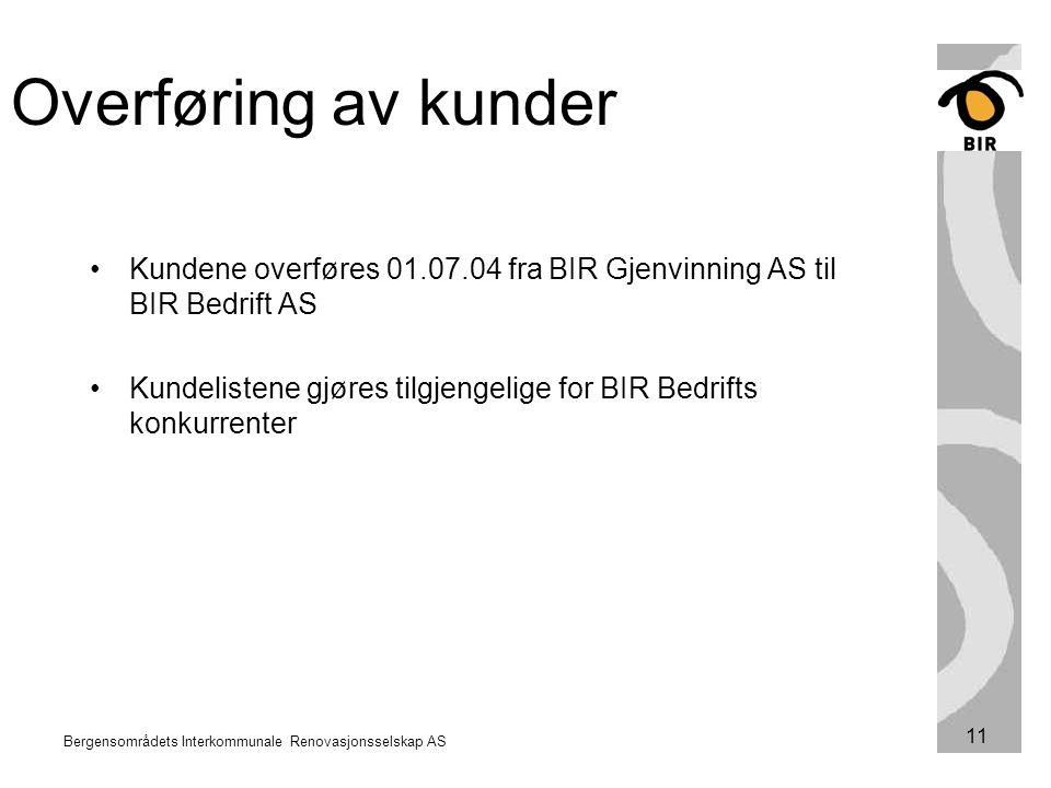 Bergensområdets Interkommunale Renovasjonsselskap AS 11 Kundene overføres 01.07.04 fra BIR Gjenvinning AS til BIR Bedrift AS Kundelistene gjøres tilgj