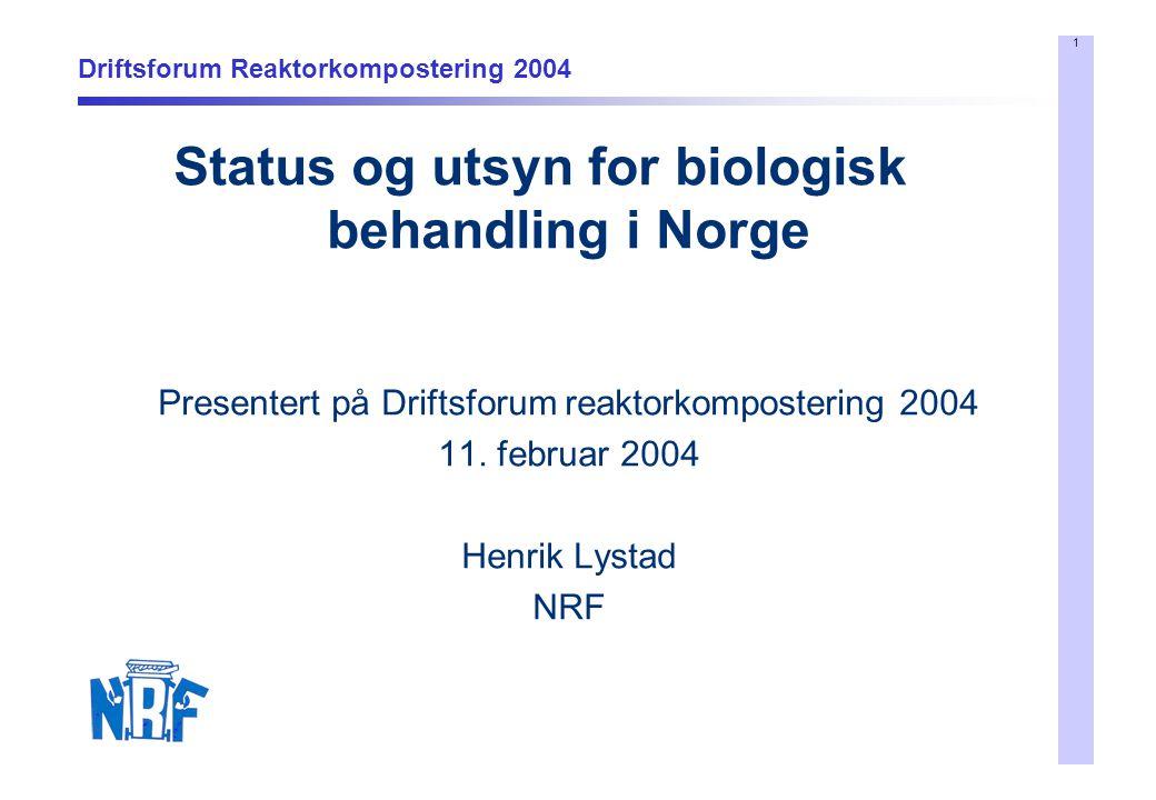 1 Driftsforum Reaktorkompostering 2004 Status og utsyn for biologisk behandling i Norge Presentert på Driftsforum reaktorkompostering 2004 11. februar